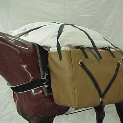 packing gear on horse