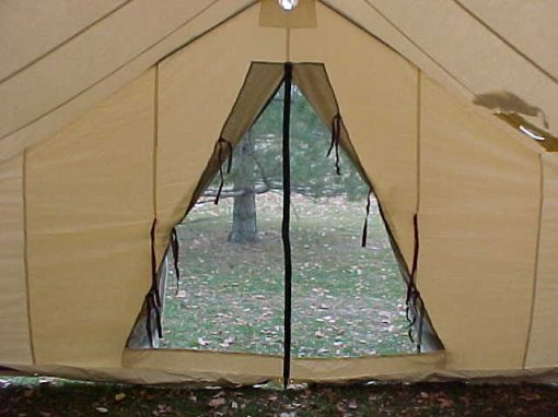 Looking out a tent's screen door