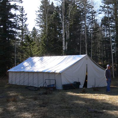 Man outside his tent