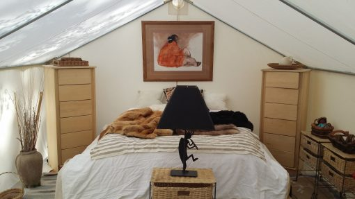 luxury glamping tent interior
