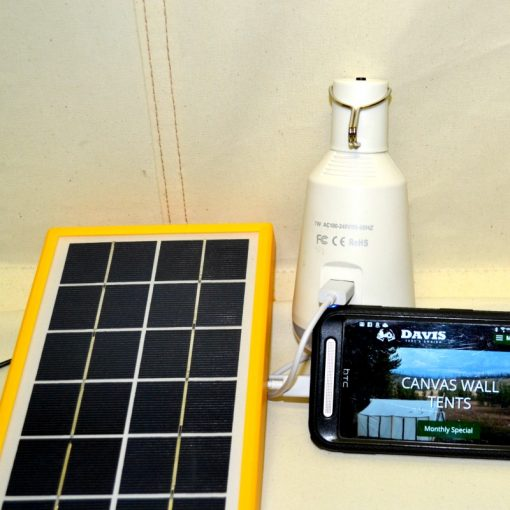 LED light with solar panel