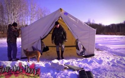 Winter Snow Camping in a Canvas Tent