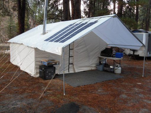 Canvass Tent with solar panels